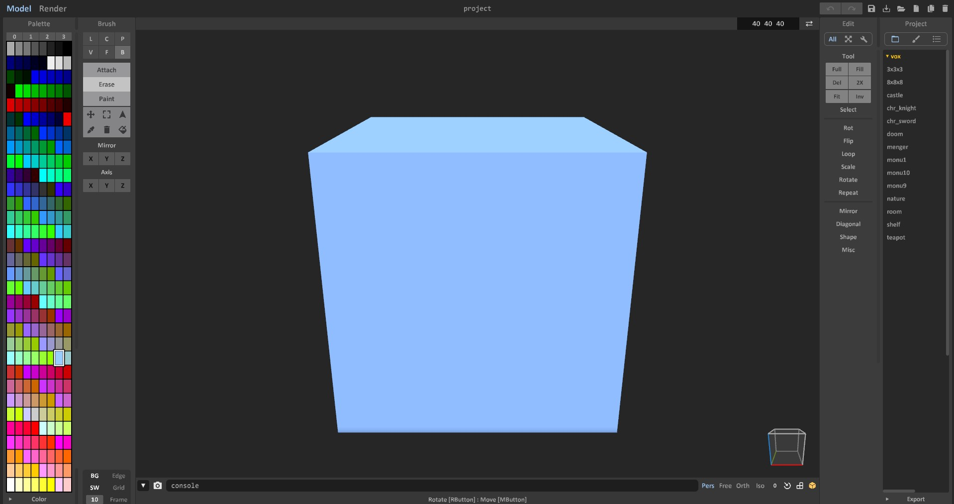 MagicaVoxel 初期画面画像