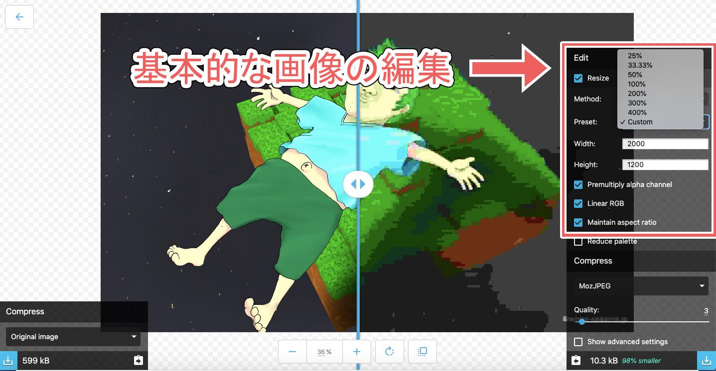 Squooshの基本的な画像の編集をしているところのスクリーンショット