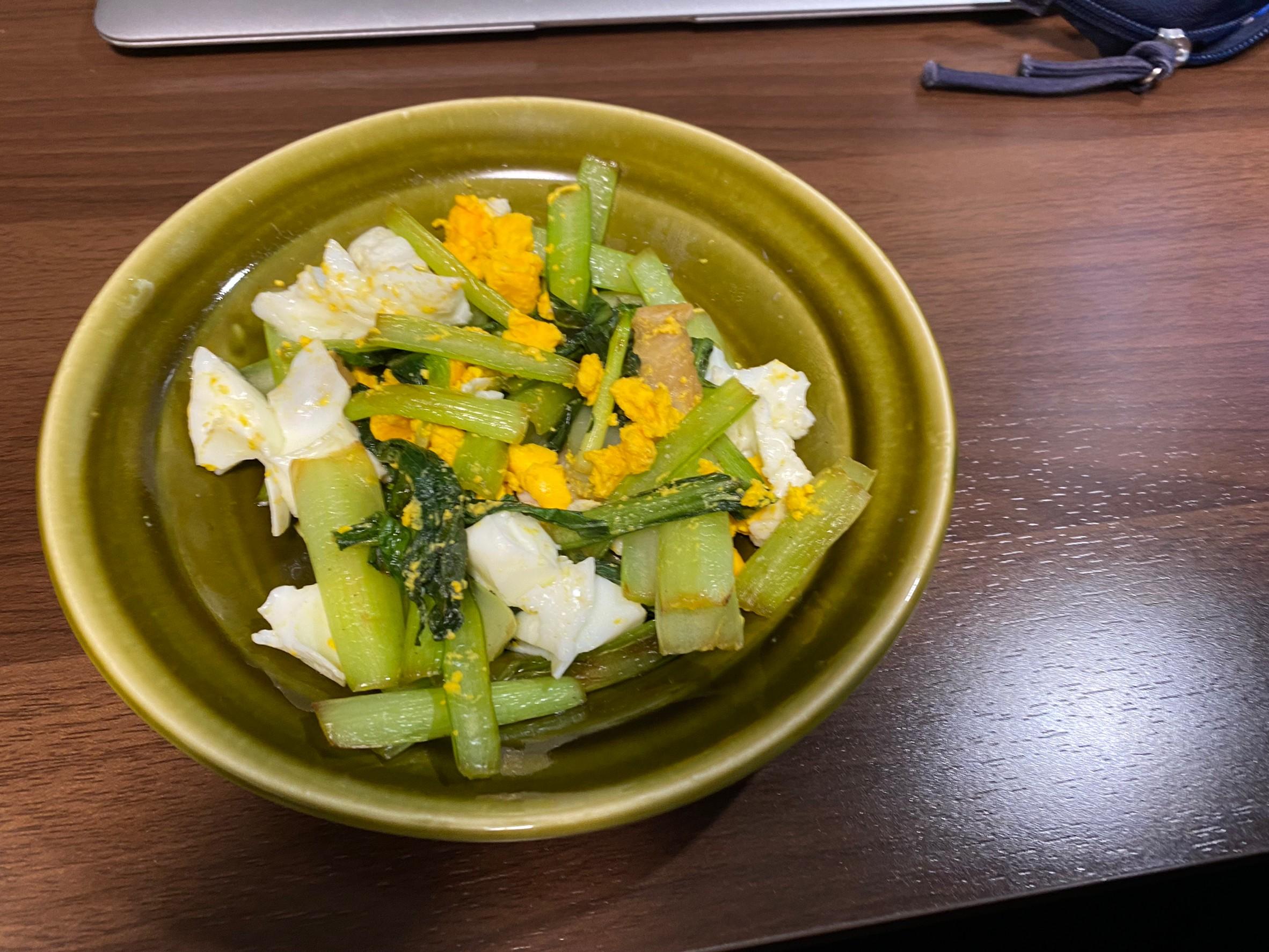 小松菜とゆで卵画像